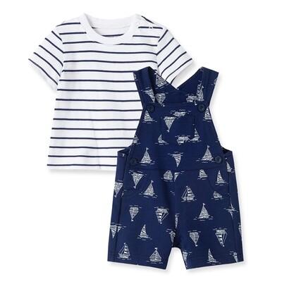 CONJUNTO LITTLE ME - Cj 2 pz overol corto estampado náutico, t-shirt m/c, azul