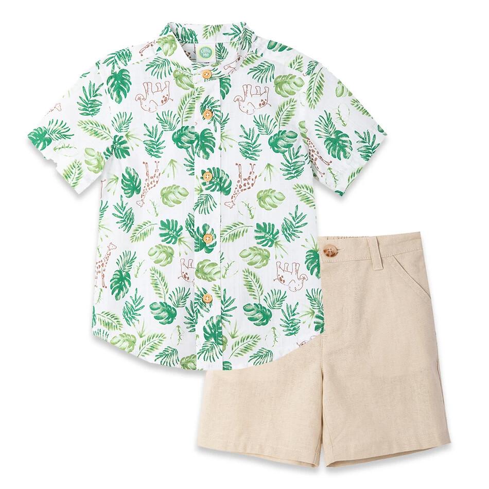 CONJUNTO LITTLE ME - camisa m/c estampada safari verde y blanca, short khaki de twill