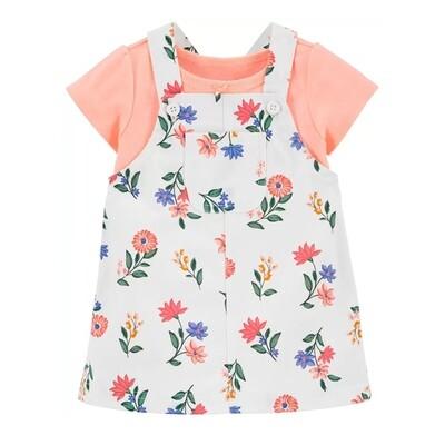 CONJUNTO CARTERS - 2 pz jumper/short estampado flores, blusa m/c rosada