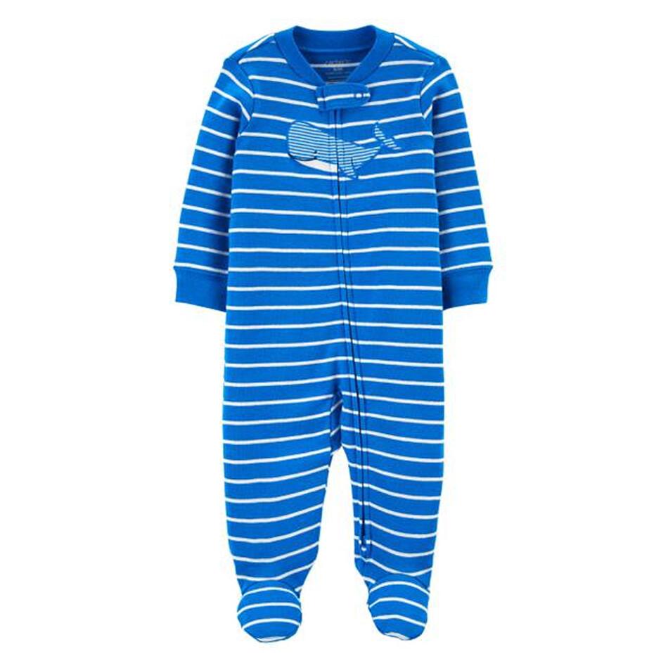 PIJAMA CARTERS - con pies, estampada azul y blanco, Ballena