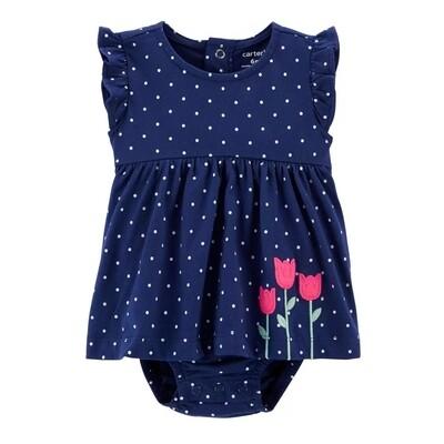 VESTIDO CARTERS - Sol s/m con puntos, Azul Marino con flores y calzoncito