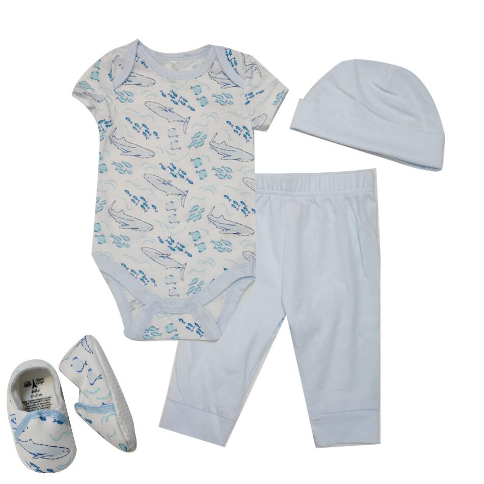 CONJUNTO LE TOP - 2 pz camisa m/c y pantalón, 2 accesorios, tiburón, celeste