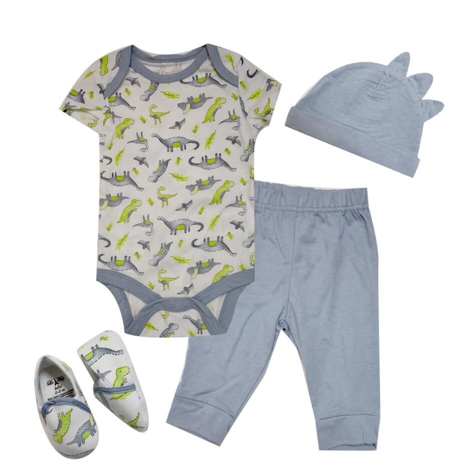 CONJUNTO LE TOP - 2 pz camisa m/c y pantalón, 2 accesorios, dinosaurios, azul