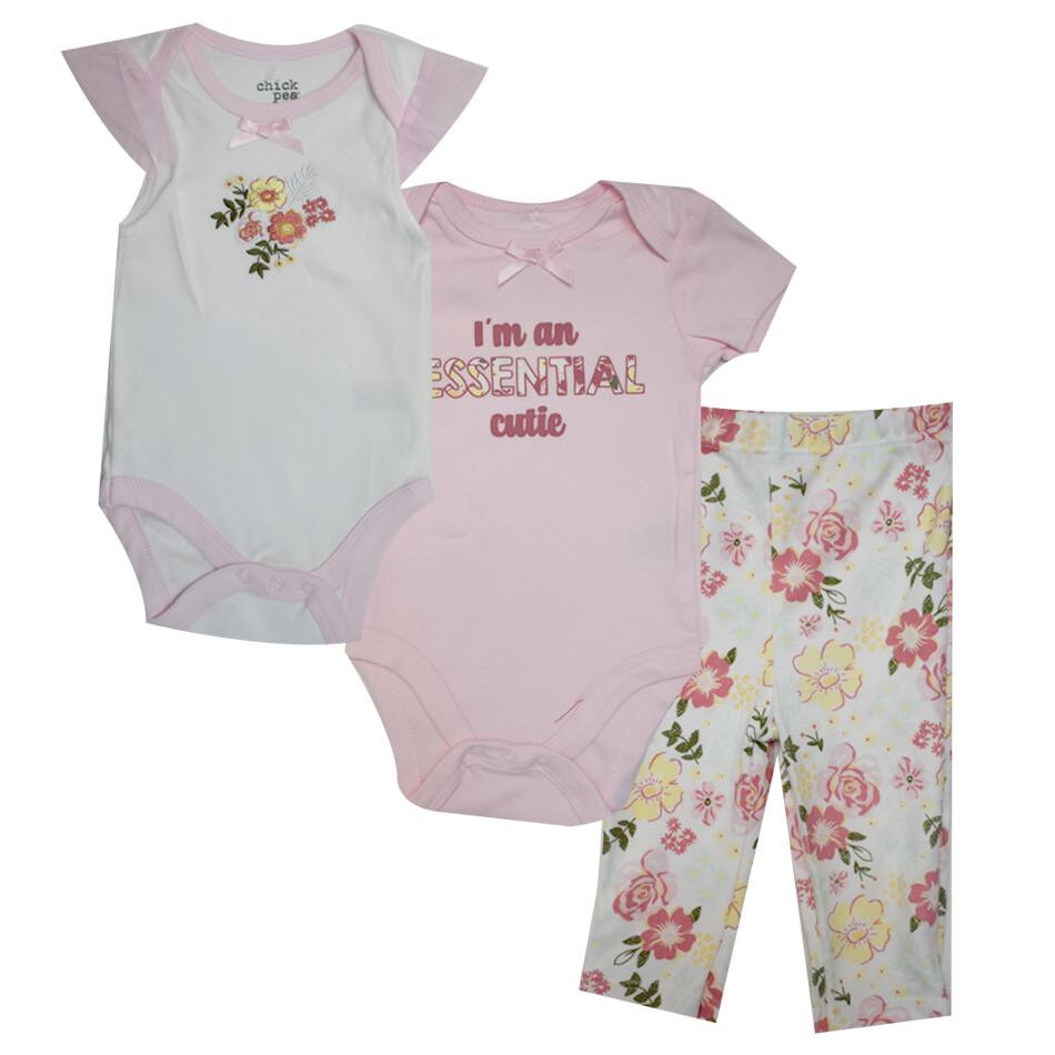 CONJUNTO CHICK PEA - 3 pz dos bodys m/c lisas, pantalón floreado, rosado