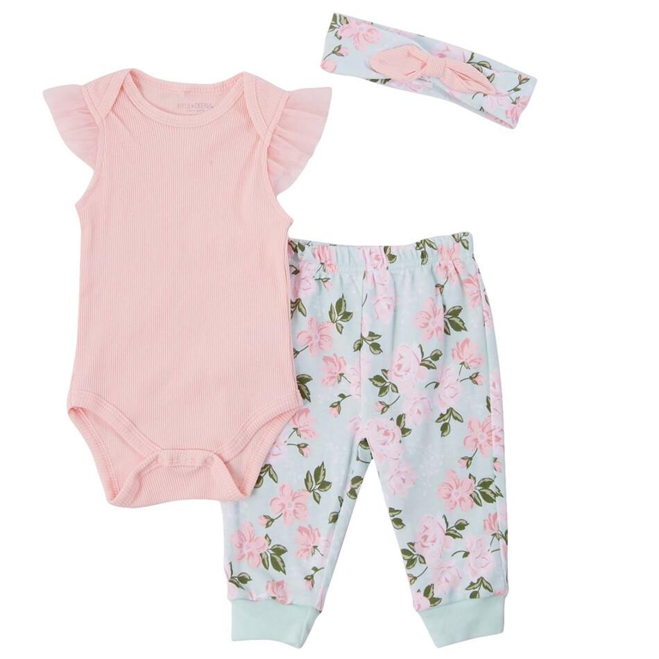 CONJUNTO KYLE & DEENA - 2 pz body, pantalón y diadema, flores, rosado