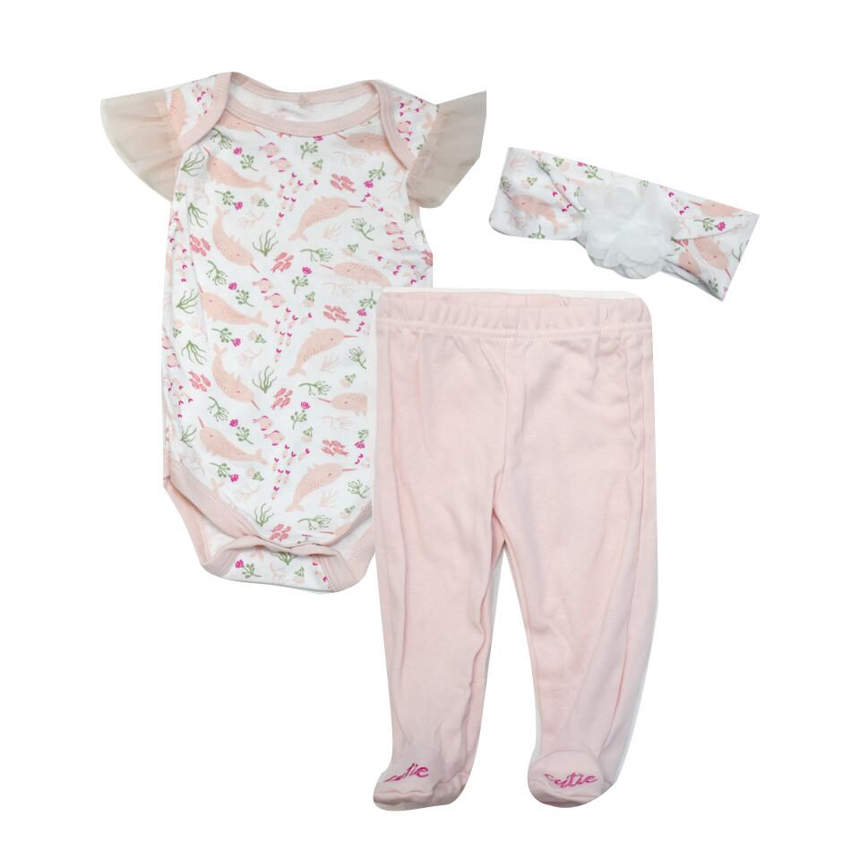 CONJUNTO LE TOP - 2 pz body s/m con vuelo estampada, pantalón con pie liso, rosado