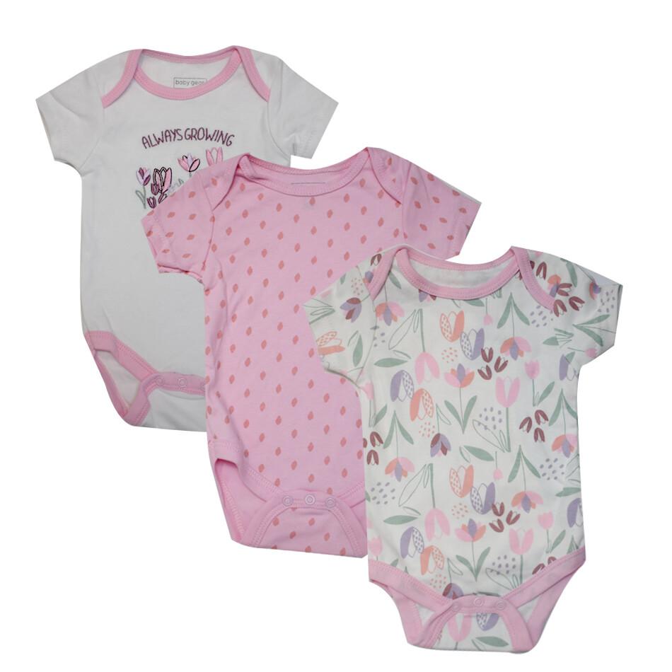 BODYS BABY GEAR - 3 pk m/c lisos y estampados, florales, rosado
