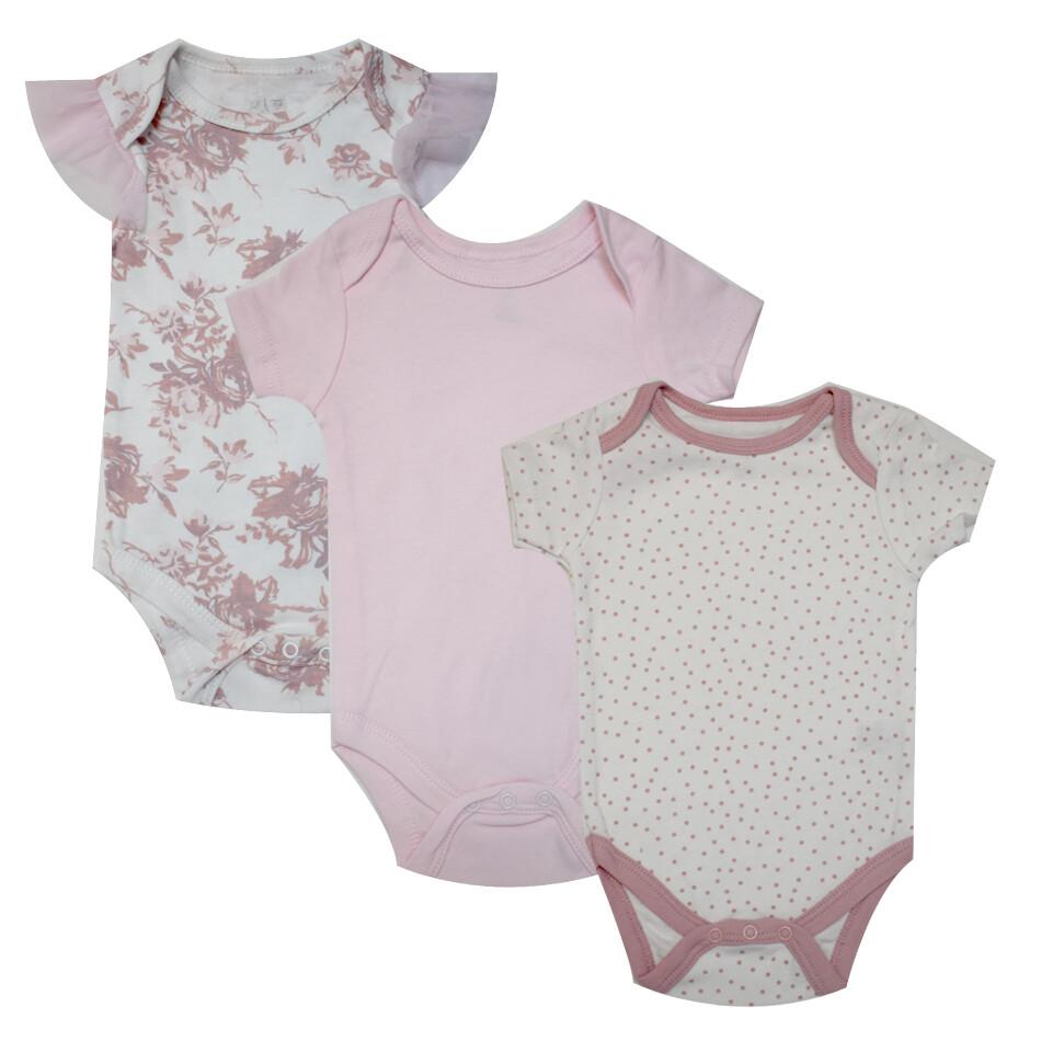 BODYS LE TOP - 3 pk m/c estampado rosas y liso, rosado