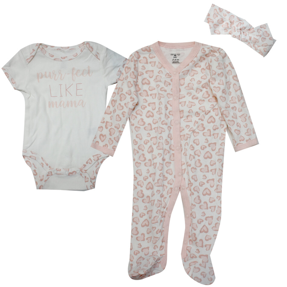 CONJUNTO LE TOP - 2 pz body m/c, pijama estampada, diadema, leopardo rosado