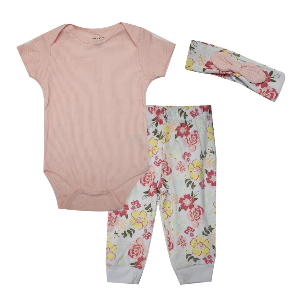 CONJUNTO CHICK PEA - 2 pz body y pantalón con diadema, rosado