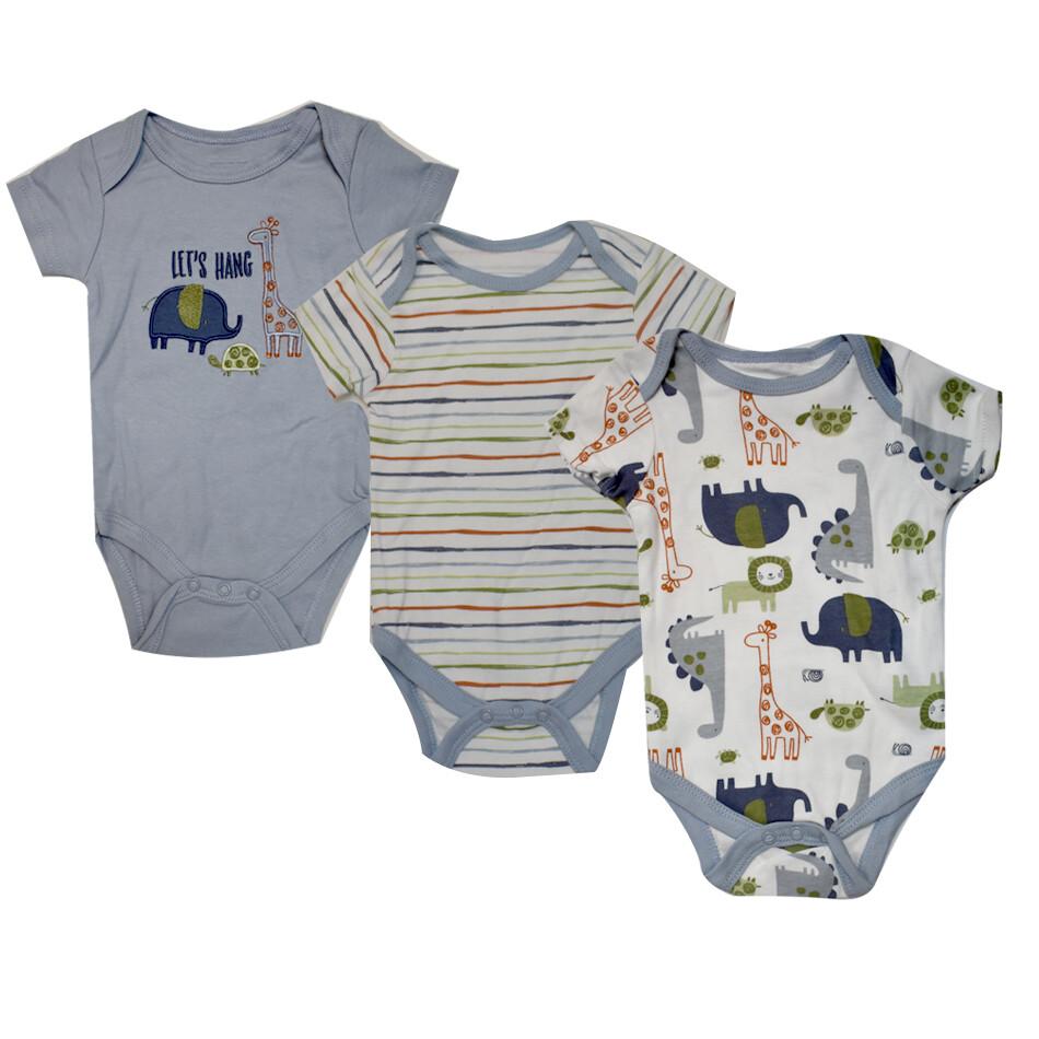 BODYS BABY GEAR - 3 pk m/c lisas y estampadas, safari, azul