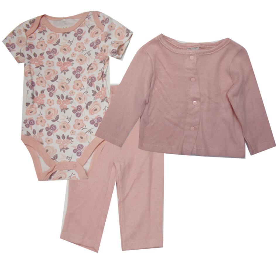 CONJUNTO CHICK PEA - 3 pz body, pantalón y saco, rosado