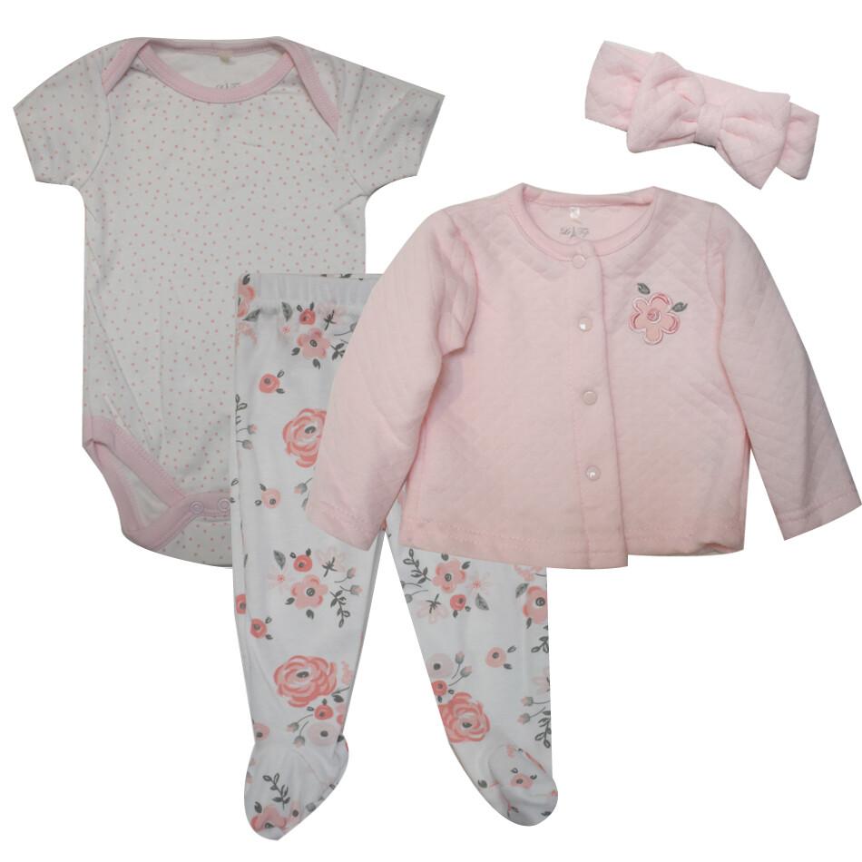 CONJUNTO LE TOP - 3 pz body m/c, pantalón con pies estampado, saco liso, diadema, rosado