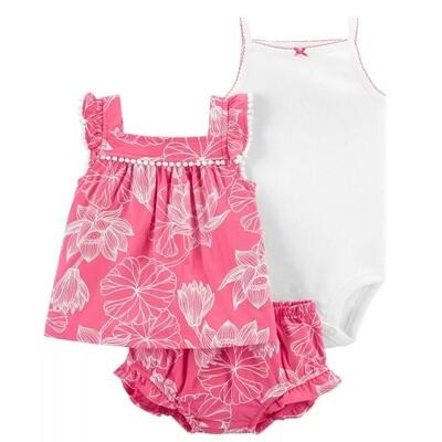 CARTERS - Cj 3 pz body de tirantes, blusa s/m y calzón, estampados rosados