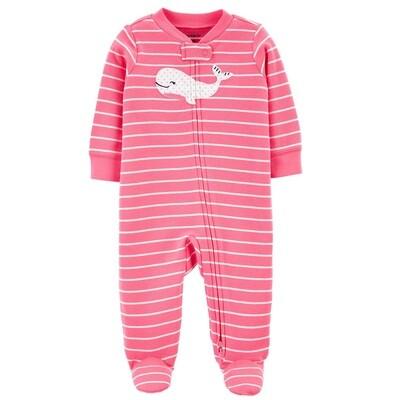 CARTERS - Pijama con pies, rayas rosado y blanco, ballena