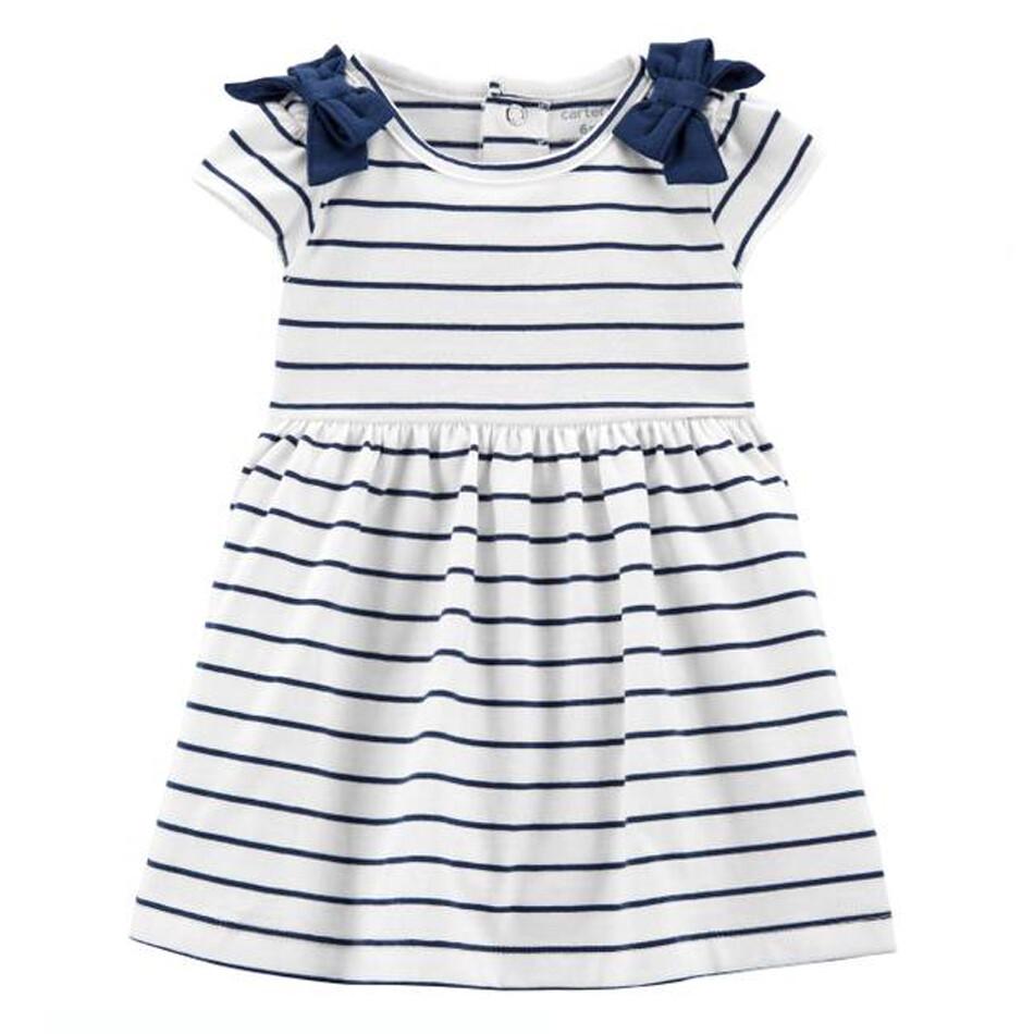 CARTERS - Vestido s/m rayas, Azul y Blanco