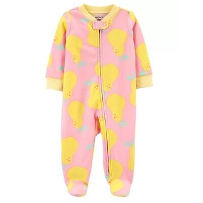 CARTERS - Pijama con pies, rosada, estampado peras amarillas