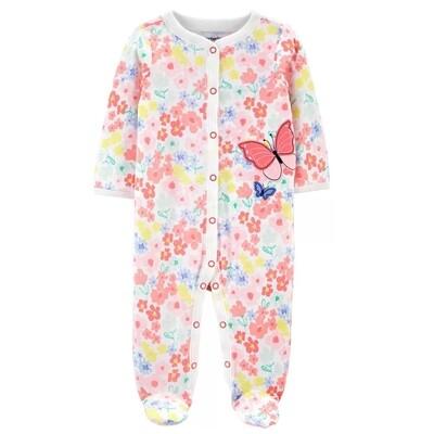 CARTERS - Pijama con pies estampada con mariposa rosada
