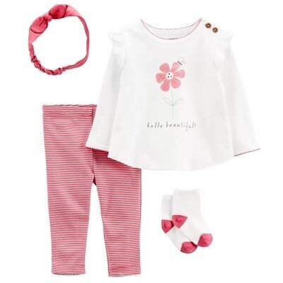 CONJUNTO CARTERS - 2 pz blusa m/l blanca estampada flores, leggings rayados rosados, con diadema y calcetas