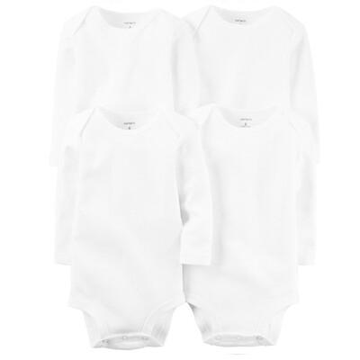 BODYS CARTERS - 4 pk bodys manga larga, blancos