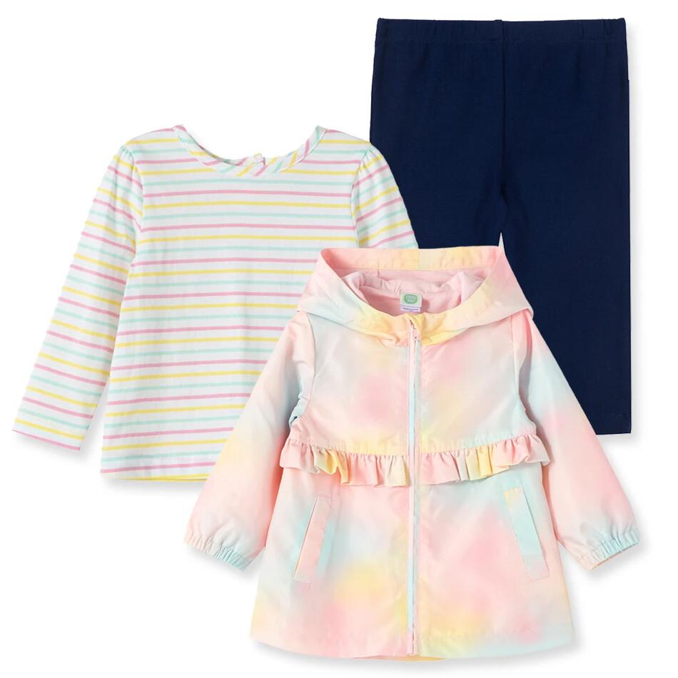 CONJUNTO LITTLE ME - 3 pz blusa m/l rayada y saco con capuchón y zipper tie dye, tights azul marinas