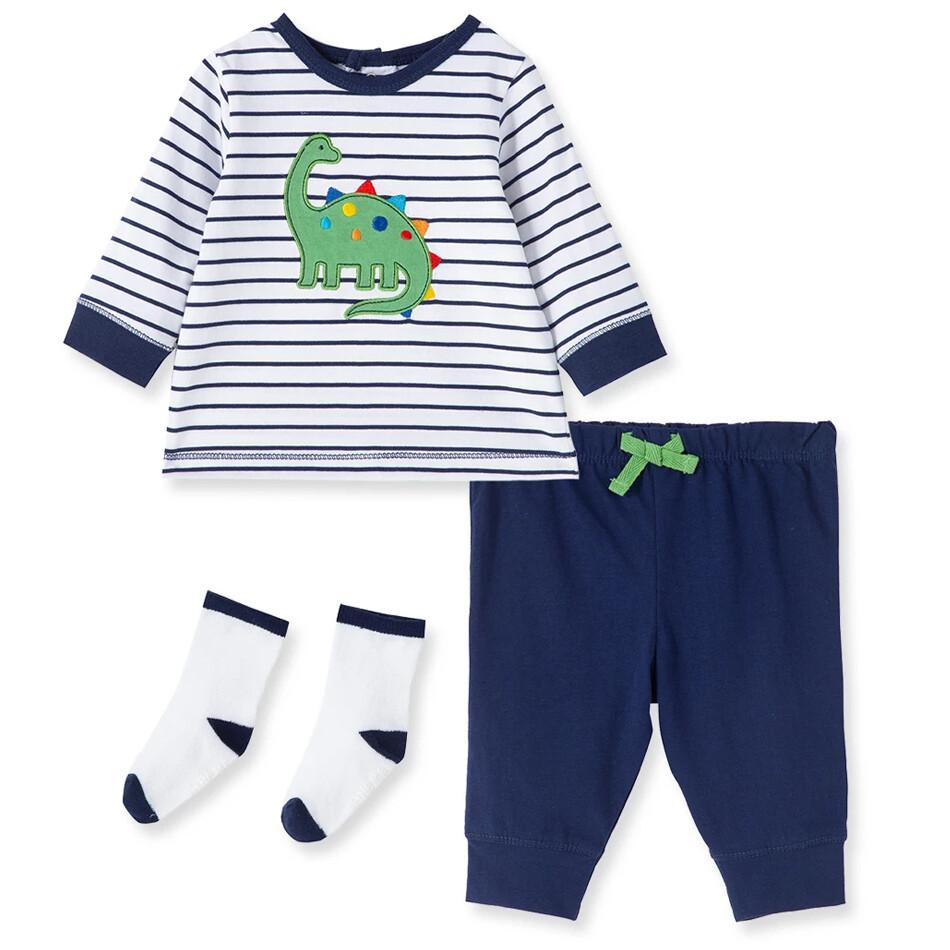 CONJUNTO LITTLE ME - 2 pz camisa m/l rayada azul con dinosaurio y pantalón de tela de pants azul marina, con calcetines