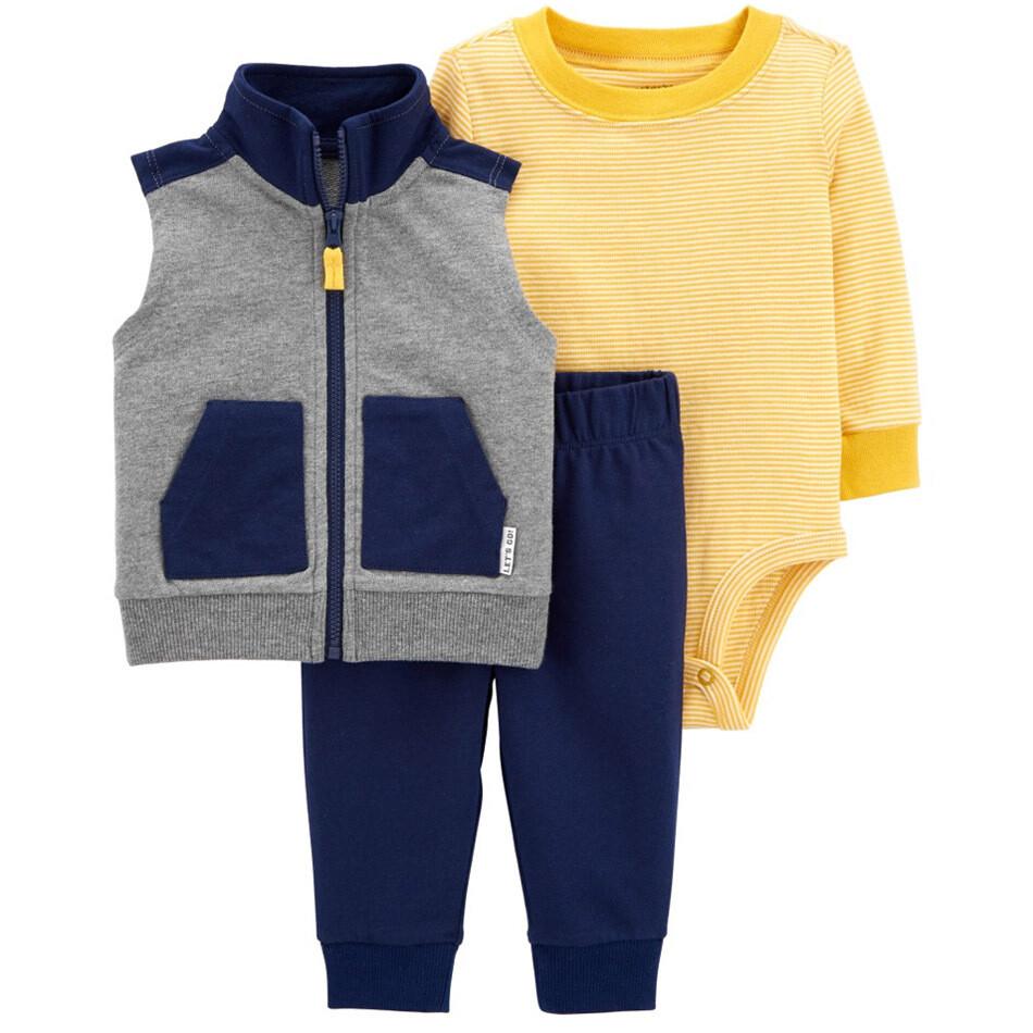 CARTERS - Cj 3 pz chaleco gris y negro tela de sudadero, camisa amarilla y pantalón negro