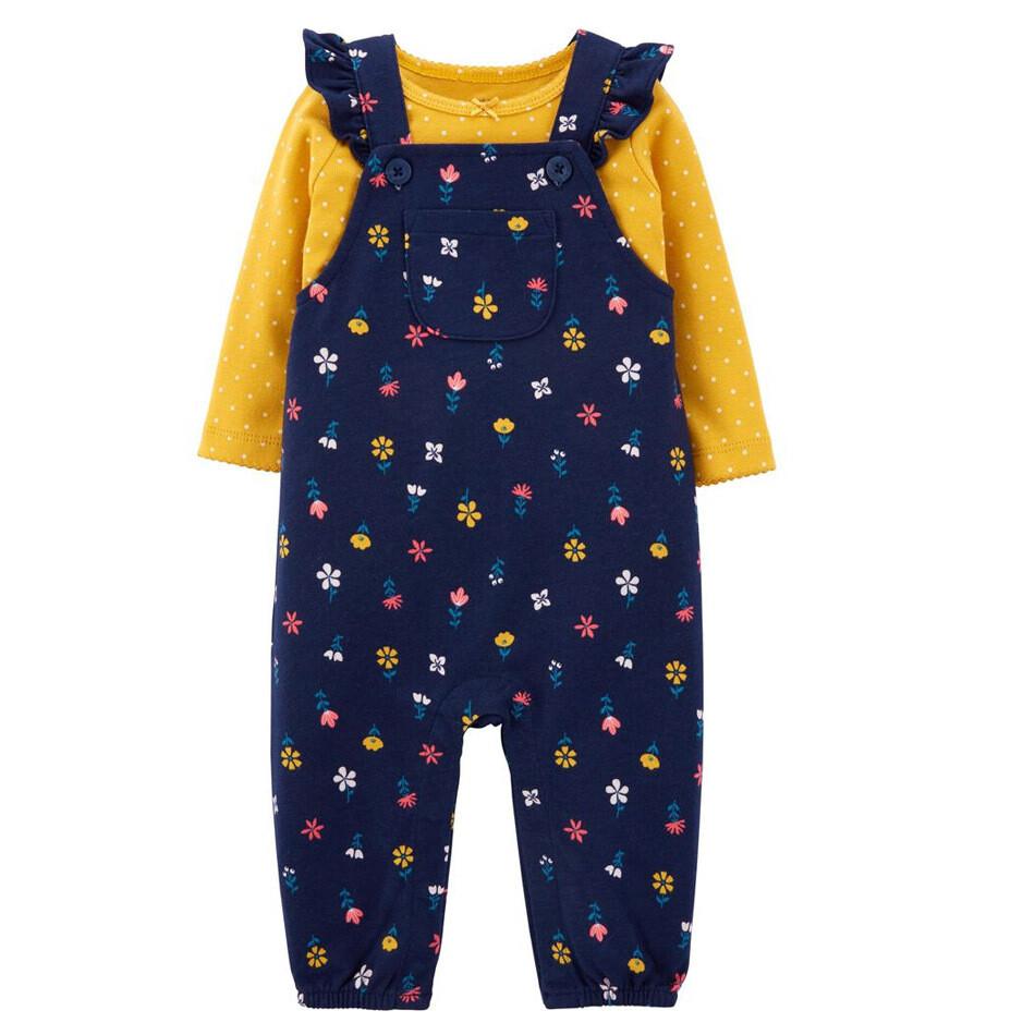 CARTERS - Cj 2pz Overol de tela de pants estampada azul y blusa m/l mostaza