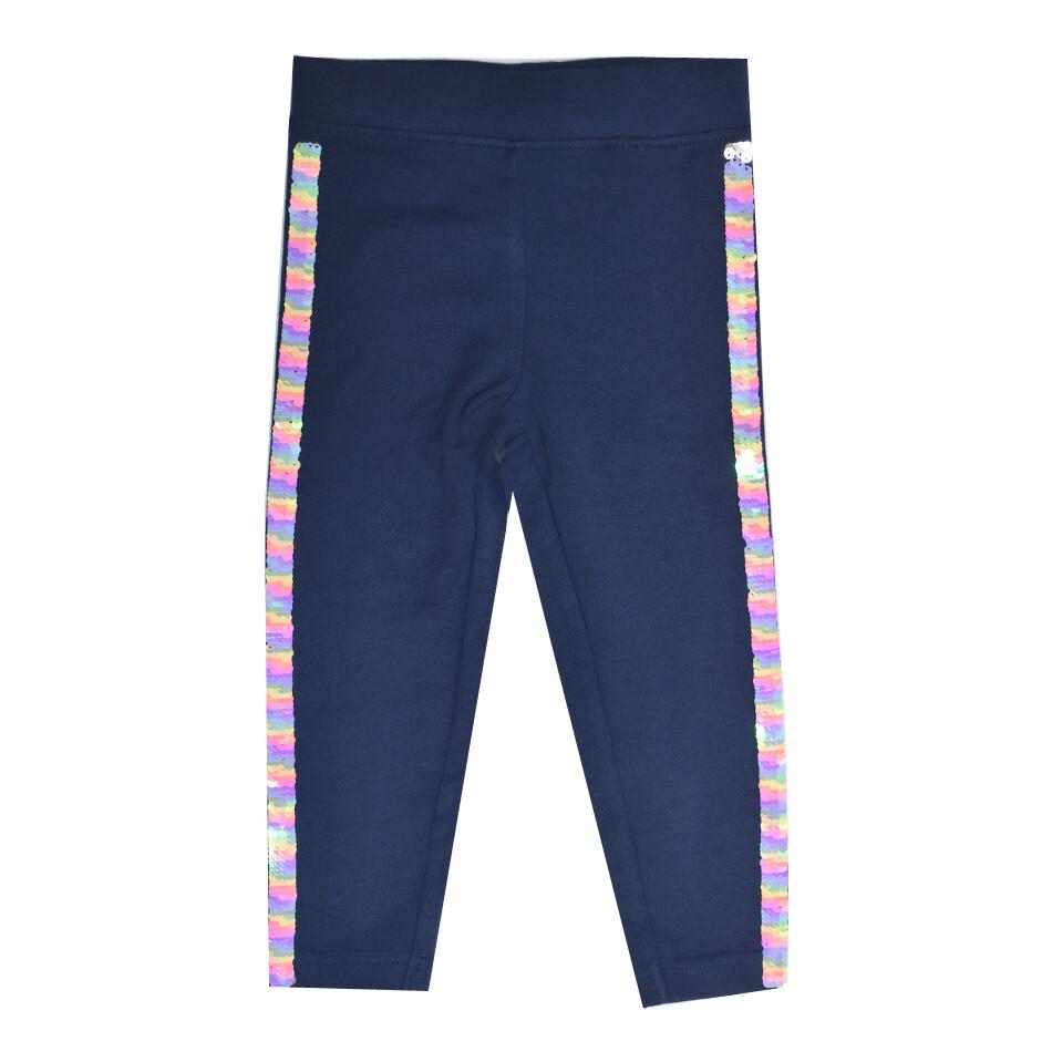 BLUE SEVEN-Leggings lisos azul obscuros con lentejuelas resersibles de colores a los lados