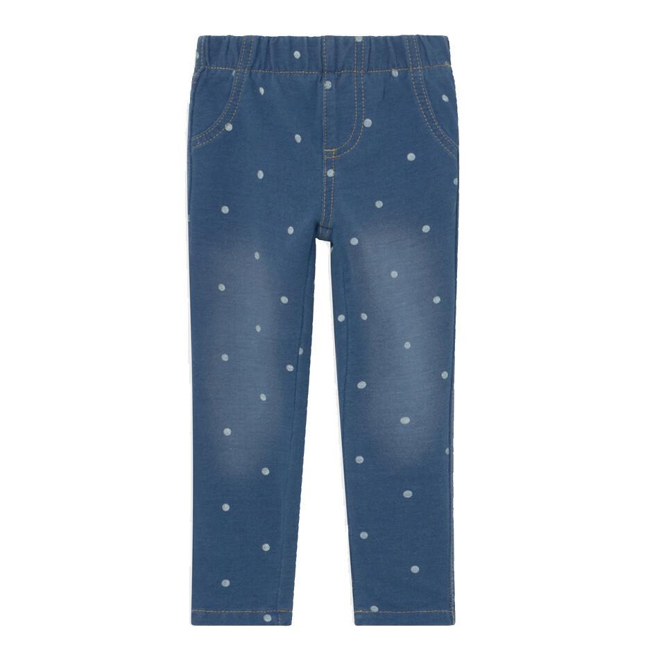 BLUE SEVEN-Pantalon de lona celeste con cinturon elástico