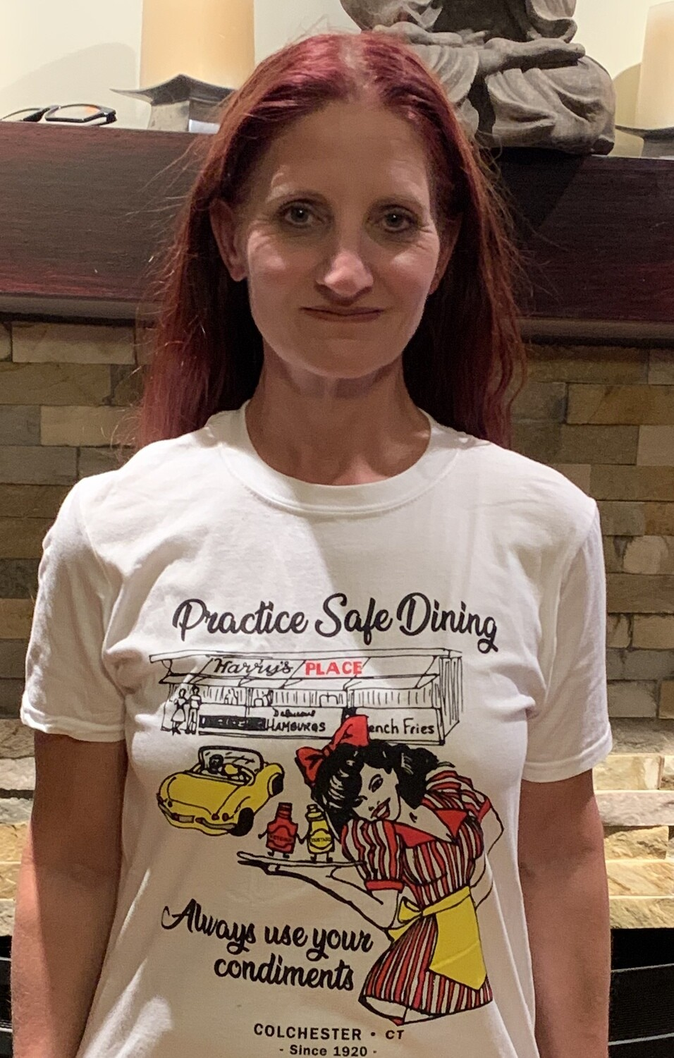 White T-shirt Practice Safe Dining - Adult Sizes