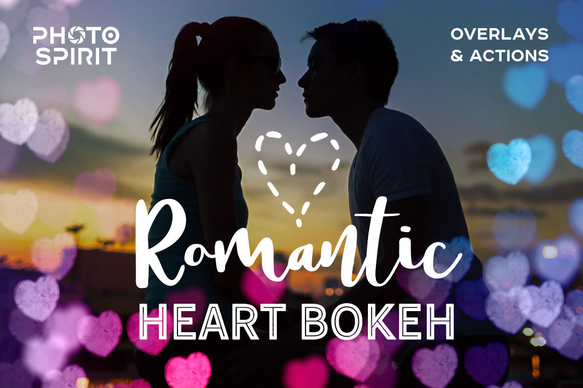 Romantic Heart Bokeh Photo Overlays