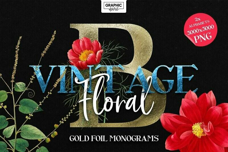 ❤ Floral Monogram Alphabet Letters