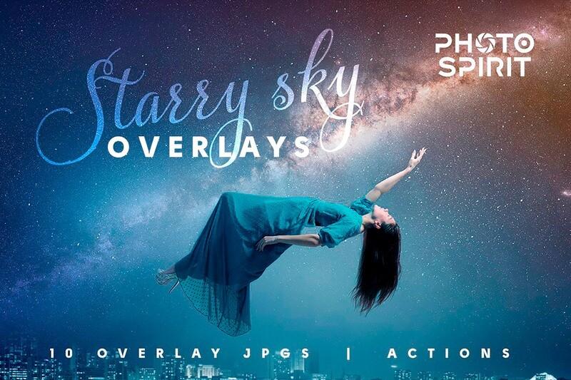 Night Sky Starry Overlays + Actions
