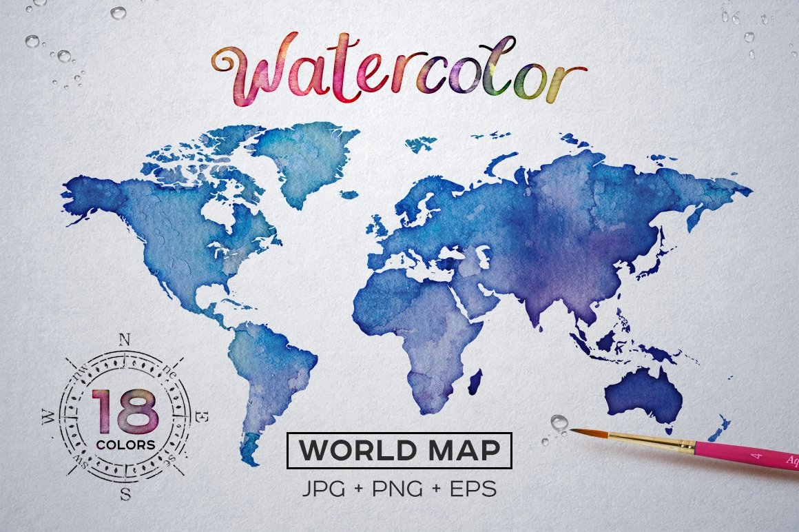 Watercolor World Maps JPG+EPS+PNG
