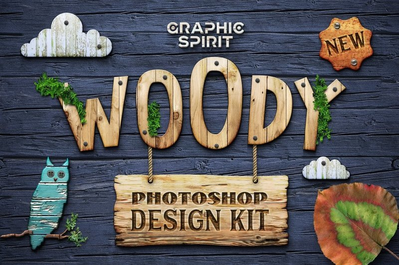 WOODY Photoshop Design Kit