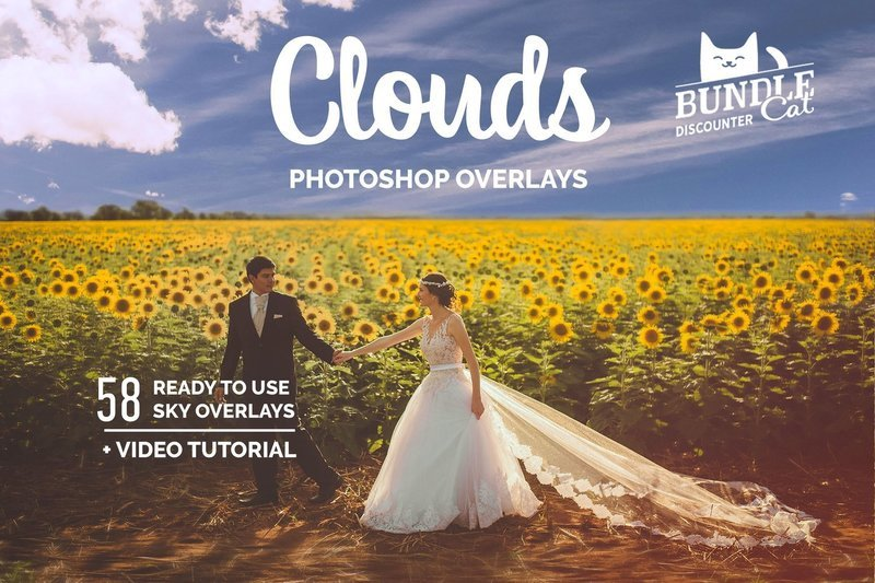 58 Cloud Photo Overlays. Day, Evening, Sunset, Rainy, Sunbeams