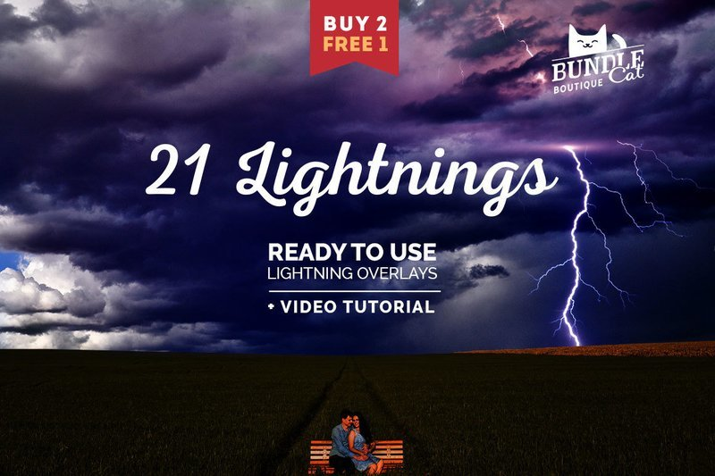21 Lightning Photoshop Overlays