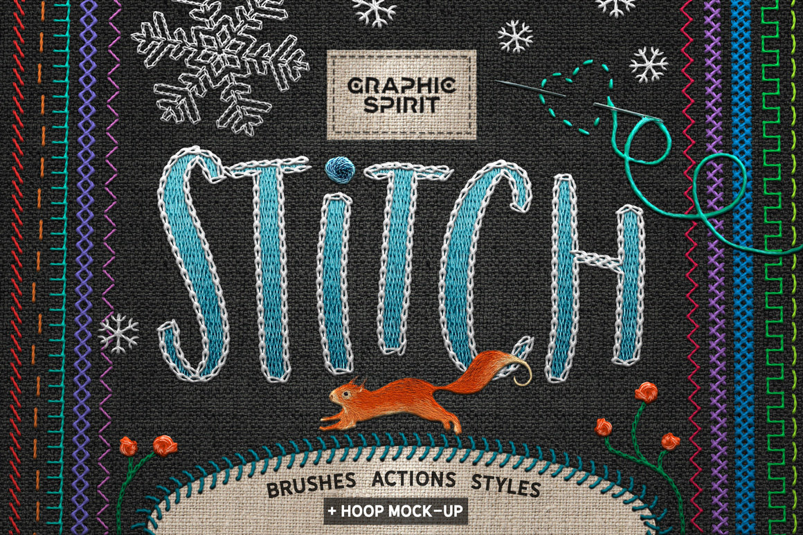 Ps STITCH: Brushes, Actions, Styles and Mock-Ups