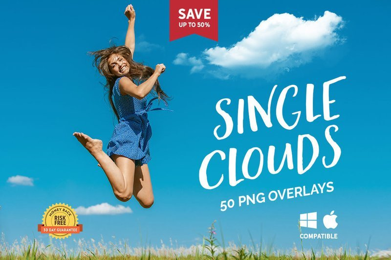 50 Single Clouds Photo Overlays