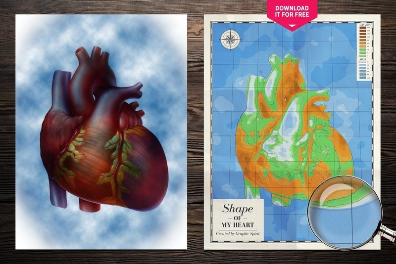 Shape Of My Heart Physical Map Wall Art Poster Free