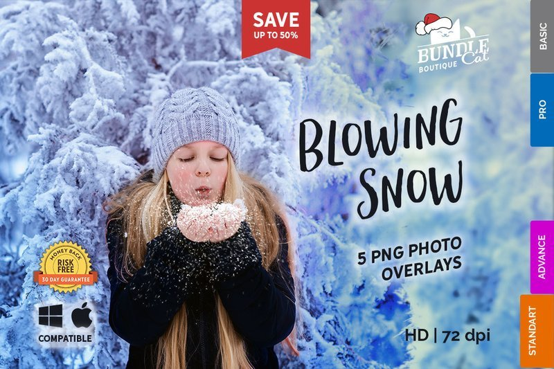 5 Blowing Snow Photo Overlays