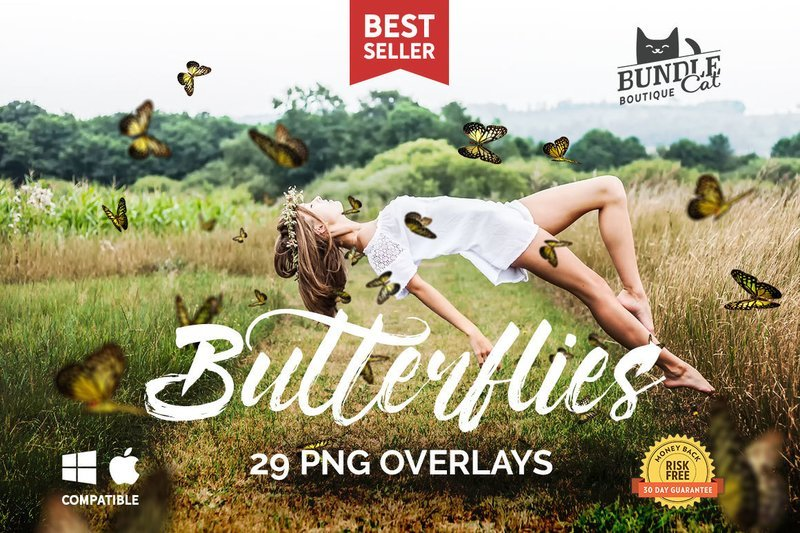 29 Butterflies Photoshop Overlays
