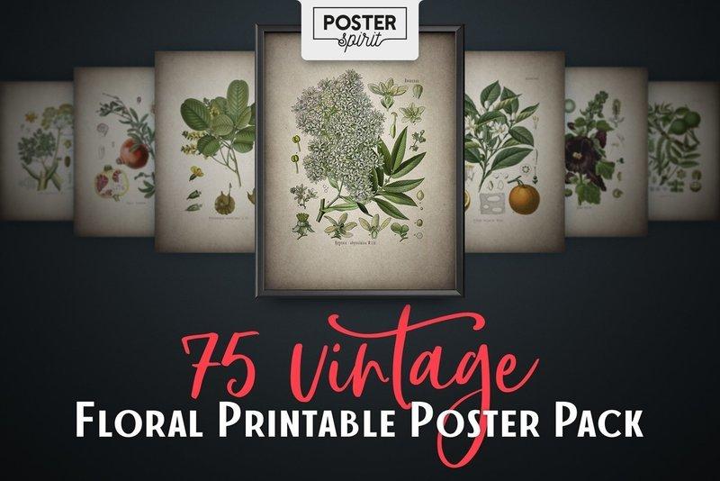 75 Vintage Floral Printable Botanical Poster Pack