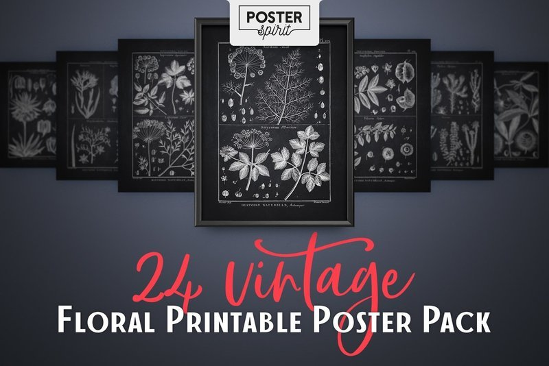 24 Black Vintage Floral Printable Botanical Poster Pack