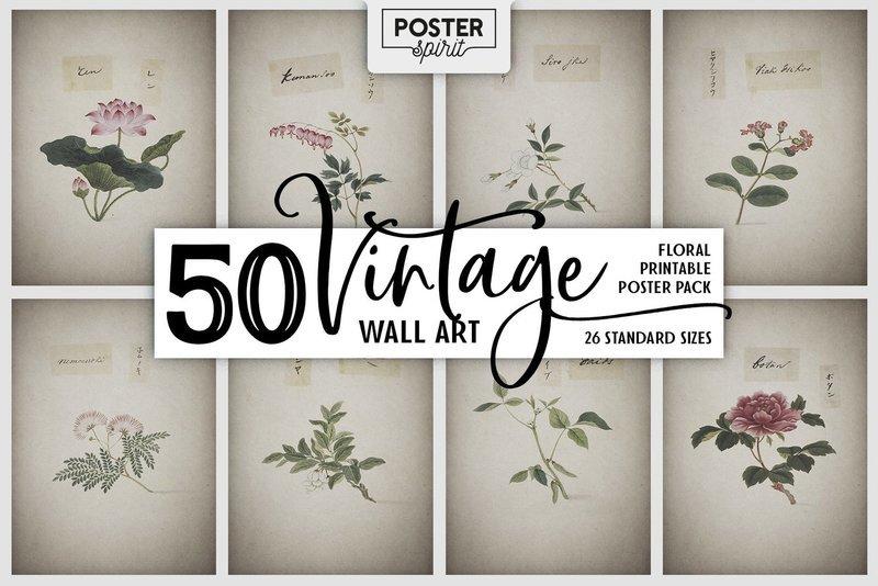 50 Vintage Floral Printable Botanical Poster Pack