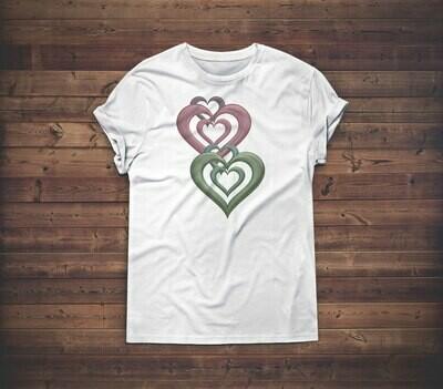 3D Hearts T-shirt Design 1B for sale