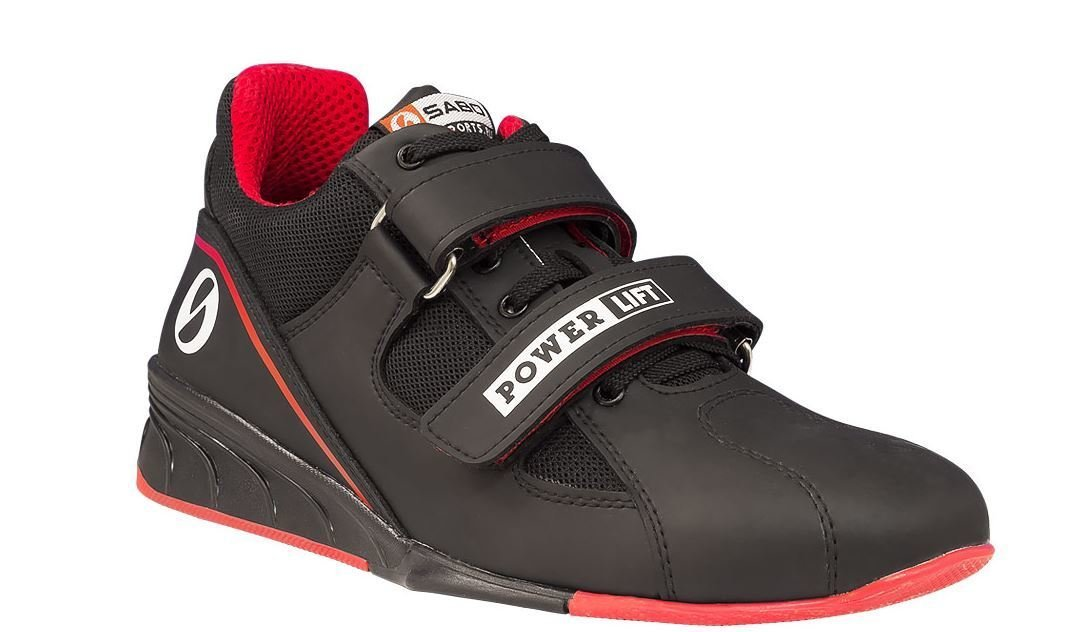 SABO POWERLIFT BLACK/RED weightlifting powerlifting crossfit gym shoes