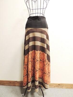 ボーダー+曼荼羅のロングスカート