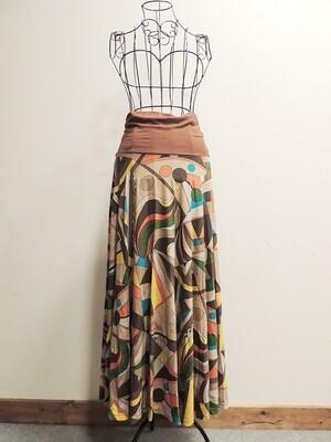 カラフル+レトロなロングスカート